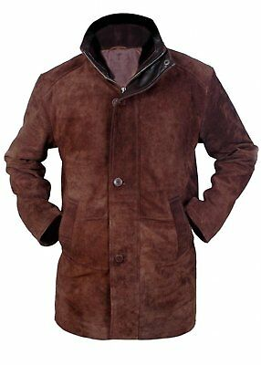 Mens Sheriff Walt Robert Taylor Real Suede Leather Long Coat Brown Leather Trench Coat