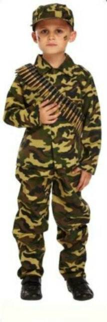 Children's Boys Army Camouflage Soldier Fancy Dress Costume Outfit Camo Trousers
