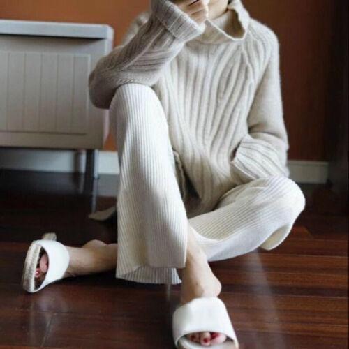 Damen Rollkragen Strickpullover Pulli Sweatshirt Winter Warm Oberteil Tops S-XL