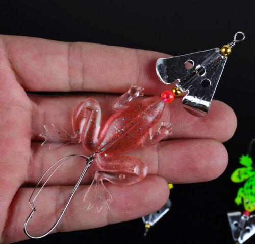 "4pcs Rubber Frog Soft Fishing Lures Bass CrankBait Sinking Fashion 3.54/"" 6.2g"