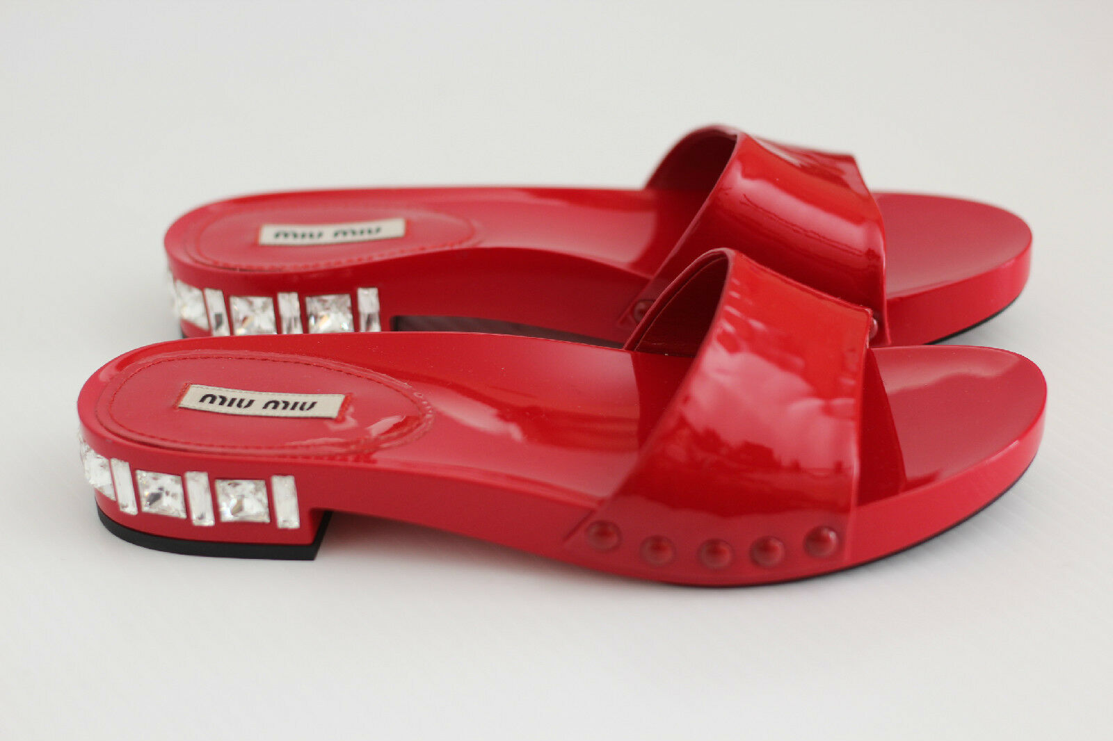 Miu Miu Jeweled Patent Leather Sandal Slide Swarovski Rhinestone Red 6.5US (X27)