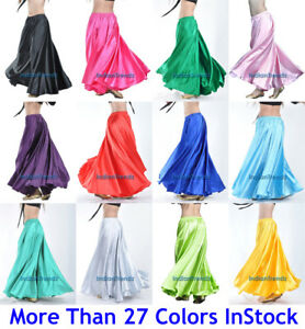 360-Full-Circle-Satin-Long-Skirt-Swing-Belly-Dance-Costumes-Tribal-Flamenco-Jupe
