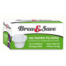 Ekobrew Brew & Save COFFEE PAPER FILTERS 100 Count KEURIG K-CUP 1.0 & 2.0 BREWER