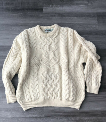 ARAN CRAFTS IRELAND Sweater XL Ivory Wool Cable Kn