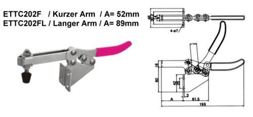 Waagrechtspanner Schnellspanner horizontal  Haltekraft 227 kg ETTC202FL Lang