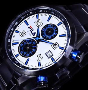 Fila-Herrenuhr-Armbanduhr-Edelstahl-Uhr-Schwarz-Blau-Silber-Farben-Chronograph-2