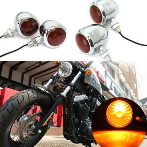 4X-MOTO-FRECCE-INDICATORI-DI-DIREZIONE-BULLET-LUCE-PER-HARLEY-CHOPPER-CUSTOM