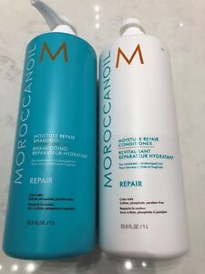 Moroccanoil-Moisture-Repair-Shampoo-amp-Conditioner-33-8oz-LITER-DUO-SET-W-PUMPS