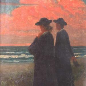 Simonson-Castelli-Ernst-Oskar-1864-1929-DRESDEN-Meer-Paar-ABENDSTIMMUNG-Strand