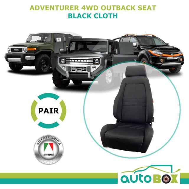 Autotecnica 4WD Explorer Sports Bucket Black Cloth Seats Pair (2) ADR Approved