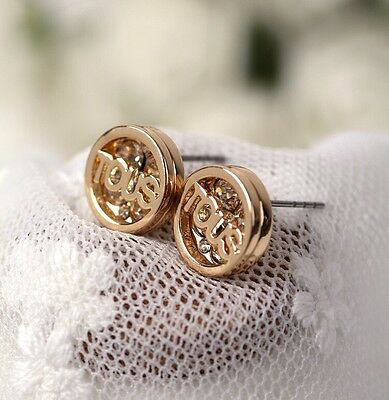 new design fashion crystal gold plated Letter earring stud  1.3*1.3CM
