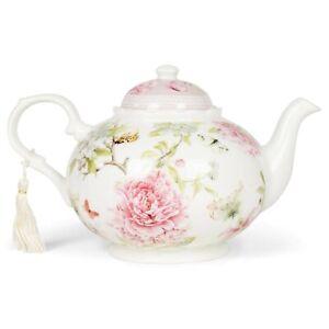 Delton Products 8150-6 Porcelain Tea Pot, Pink Peony, 9.5 x 5.6 inch