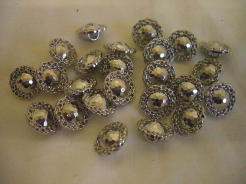 SILVER DOMED CENTRE TEXTURED BUTTONS x 24 FREE P/&P