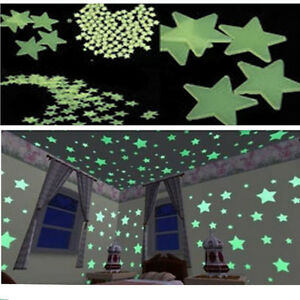 100-x-Pegatina-Pared-Adhesivo-Noctilucentes-3D-Estrellas-Luminosas-Fluorescentes