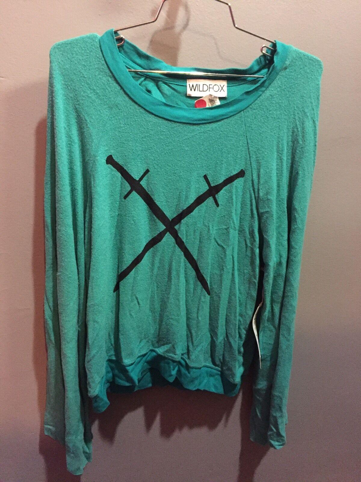 NWT Wildfox Brand Solid Green Crossed Swords Bell Sleeved Sweatshirt