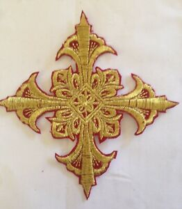 Embroidered Gold Metallic-Burgundy Edge Iron On Applique Patch Fleur Cross