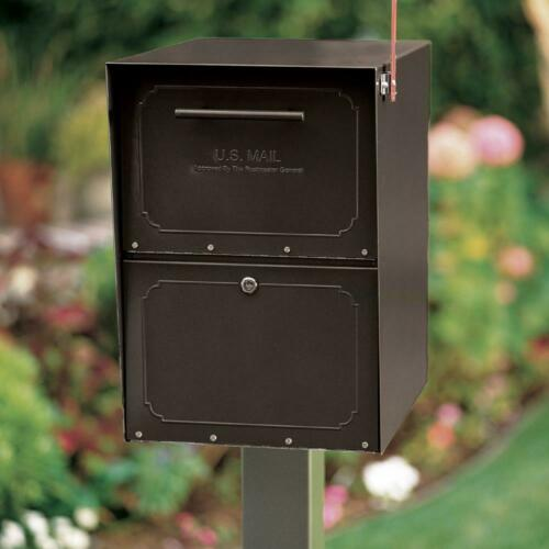 Locking Mailbox Post//Column-Mount Outgoing Flag Indicator Galvanized Steel Black