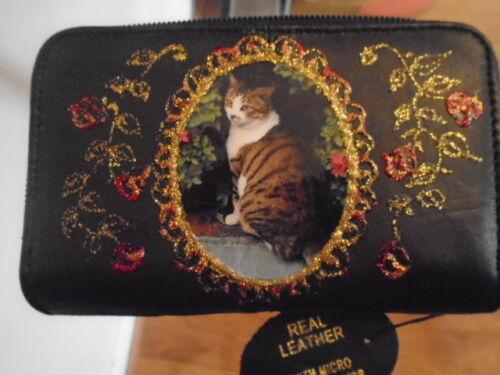 Neuf Doux Cuir Noir Tabby Cat Photo Sac à Main//Portefeuille