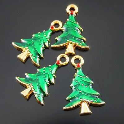 19pcs Gold&Green Enamel Alloy Xmas Tree Look Charms Pendant Jewelry Accessories