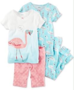 2daf36b31ab2 Carter s 4-Piece Flamingo Knit Pajamas Sleepwear Set Toddler Girl 2T ...