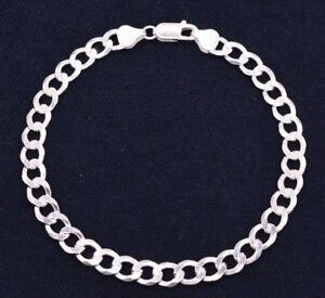 7mm Men's Italian Bold Miami Cuban Link Bracelet Real Solid Sterling Silver 925