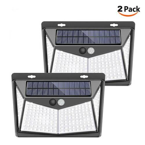 208LED Solarleuchte Solarlampe Bewegungsmelder Solarstrahler Außen Fluter Sensor
