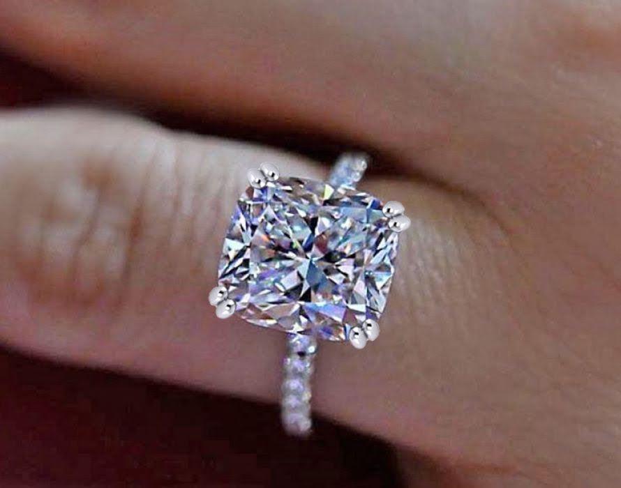 Certified 2.68Ct White Cushion Diamond Engagement & Wedding Ring 14K White gold