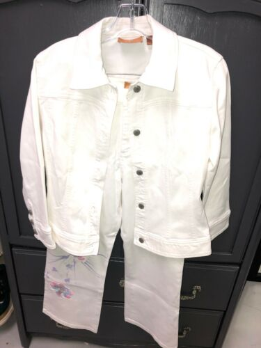 DANA BUCHMAN DENIM White Embroidered Painted Jacke