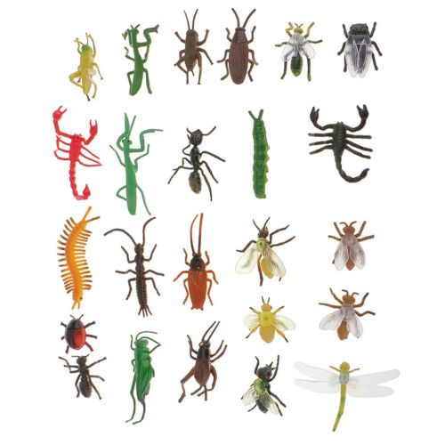 24Pcs Lifelike Assorted Plastic Insects Bugs Figures Model Educational Toys