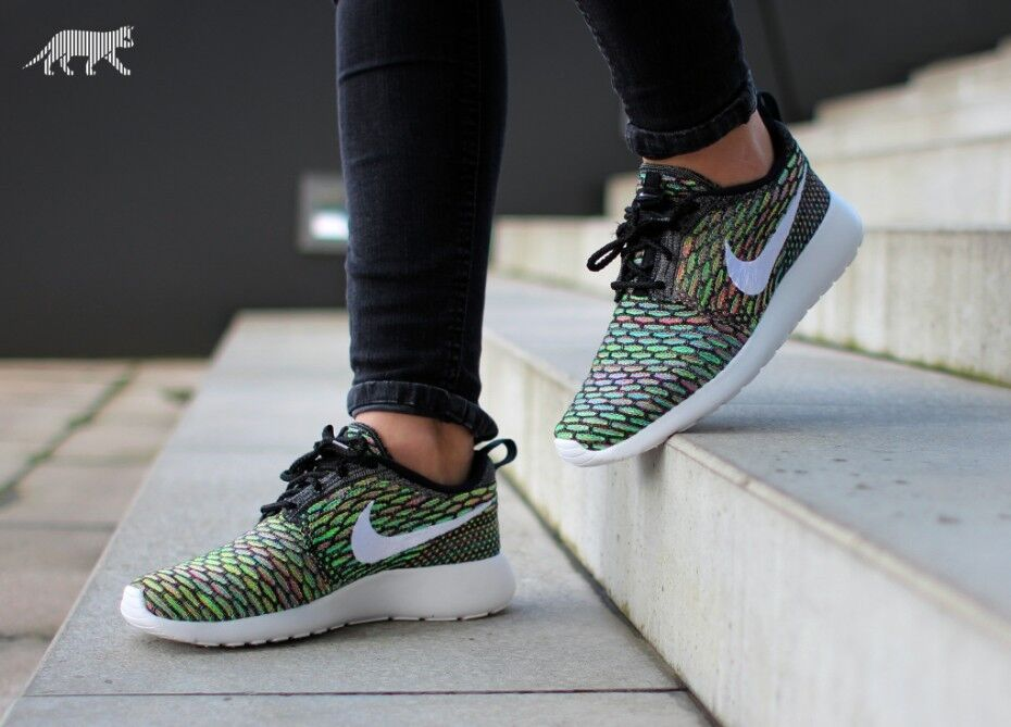 Nike Roshe Run FLYKNIT Multi ALL SIZES Unisex Noir / blanc  Bleu lagoon