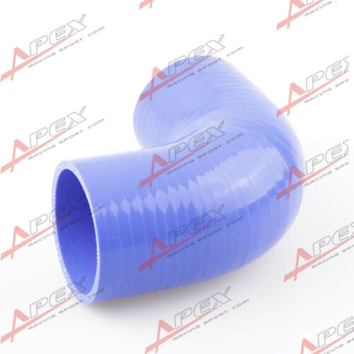 """2.5/"""" To 2.5/"""" 4 Ply 90 Degree Turbo Silicone Coupler Hose Pipe Blue"""