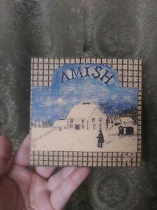 Folk Art Print on Block Amish Winter Landscape Looks Like Edward Gorey Vintage