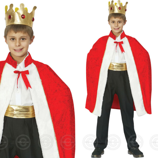 BOYS KINGS ROBE CROWN FANCY DRESS COSTUME MEDIEVAL ROYAL CHILDS KING KIDS OUTFIT
