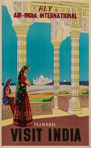 Original-Vintage-Poster-Air-India-Plane-Aviation-Tajmahal-Sari-1950