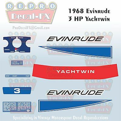 1965 Evinrude 3HP Yachtwin Outboard Reproduction 6Pc Marine Vinyl Decals 3532-33