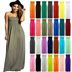 Womens-Strapless-Maxi-Dress-Ladies-Sheering-Boob-tube-Bandeau-Long-Size-8-24