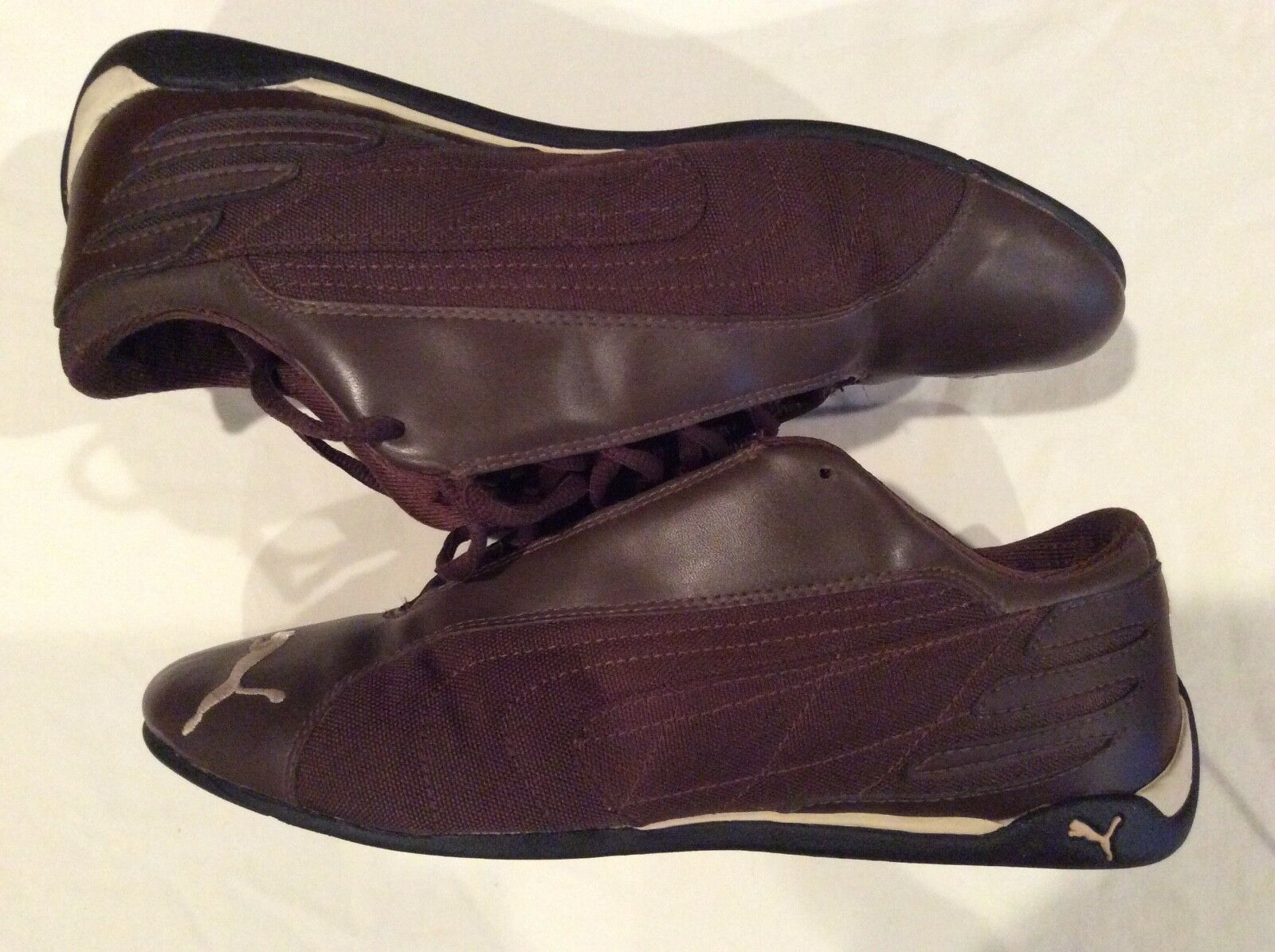 Puma Men's Brown Canvas Leather Soccer Athletic shoes, size 9