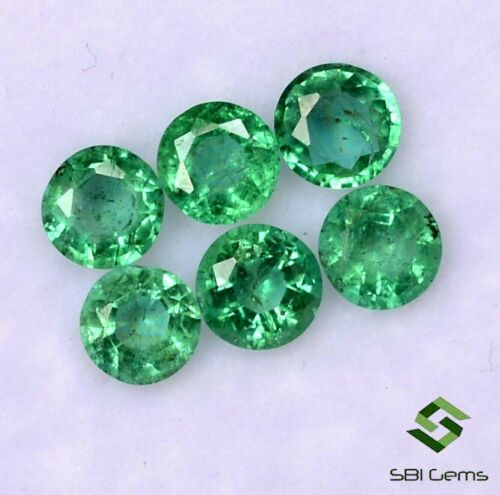 Certified Natural Emerald Round Cut 4 mm Lot 06 Pcs 1.20 Cts Loose Gemstones