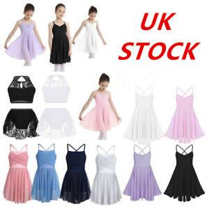 UK-Kids-Girls-Gymnasitcs-Leotard-Ballet-Dance-Dress-Ballerina-Lyrical-Dancewear