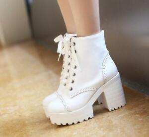 New-Fashion-Womens-Ankle-Boots-Platform-Chunky-Heels-Brogues-Casual-Shoes-Boots