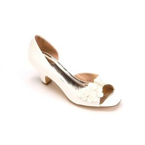 Monroe-amp-Main-Womens-Pump-Ivory-Patent-Leather-Heel-Flower-Petal-Size-10M-New