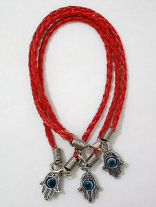 Image Is Loading 3 Kabbalah Bracelets Red Leather Evil Eye Protection