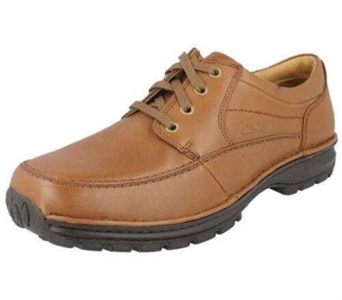 Clarks Uomo Sidmouth MIGLIO pelle marrone scarpe PIANTA LARGA (R38A) ( Kett ) Scarpe classiche da uomo