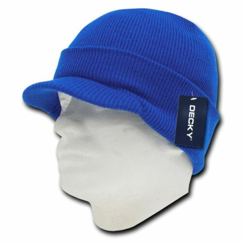 Decky Visor Beanie Cuffed Knit Jeep Caps Hats Ski Skull Red Royal Sky Unisex