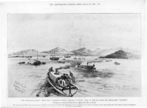 1898-Antique-Print-CHINA-Chinese-Question-German-Station-Bay-Swatow-Ship-300