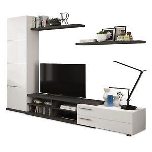 Mueble de salón comedor moderno, modulo tv Blanco Brillo y Gris ...
