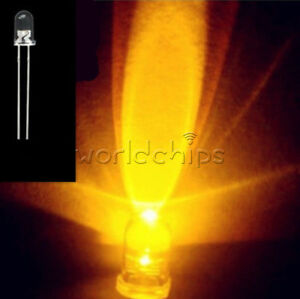 100PCS 5mm Round High Power Super Bright Water Clear LED Leds Lamp Bulb Yellow