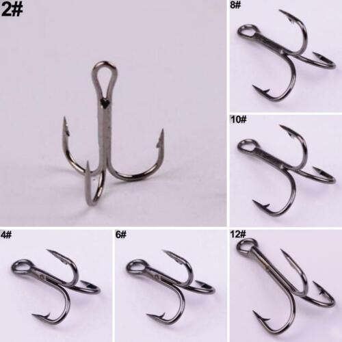 100Pcs Carbon Steel Fishing Treble Hook 2//4//6//8//10//12 Hooks Fishing Tackle Sight