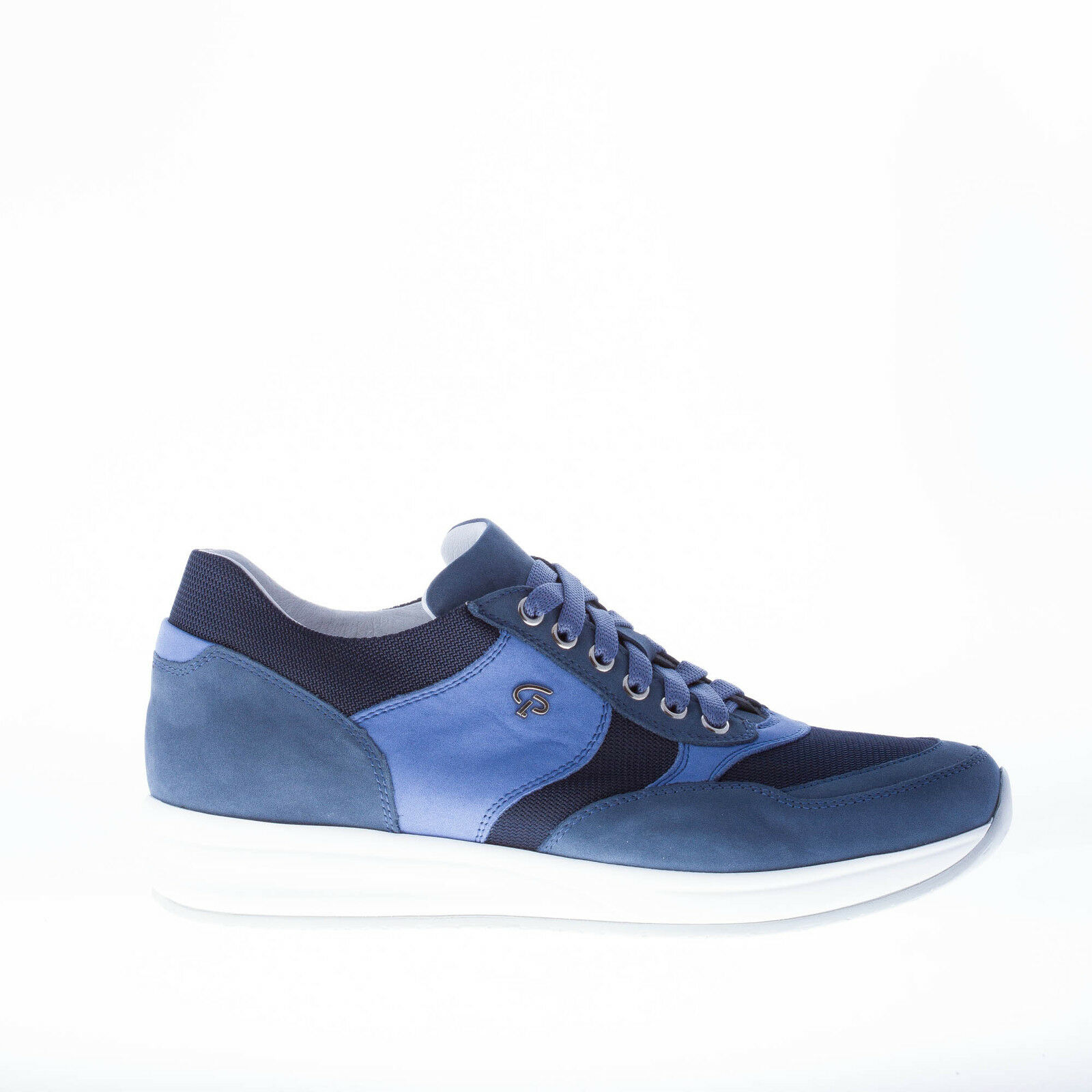 CESARE P. shoes homme bluee denim and grey nubuk and fabric sneaker
