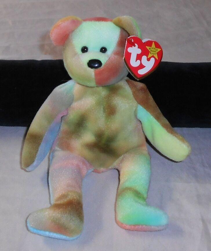 TY BEANIE BABY  GARCIA BEAR  8  PLUSH TIE-DYE SHADES, 1995 W TAG ERRORS, NWT'S